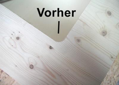 Brettsperrholz mit Rundung in der Ecke